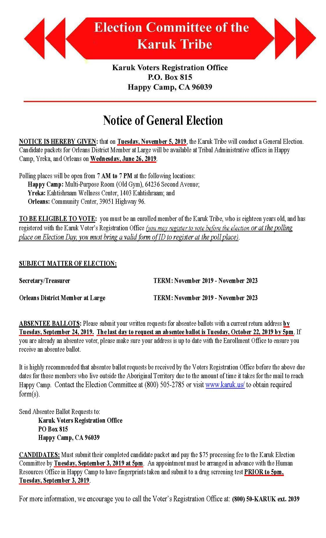 2019 Notice of General Election. PDF