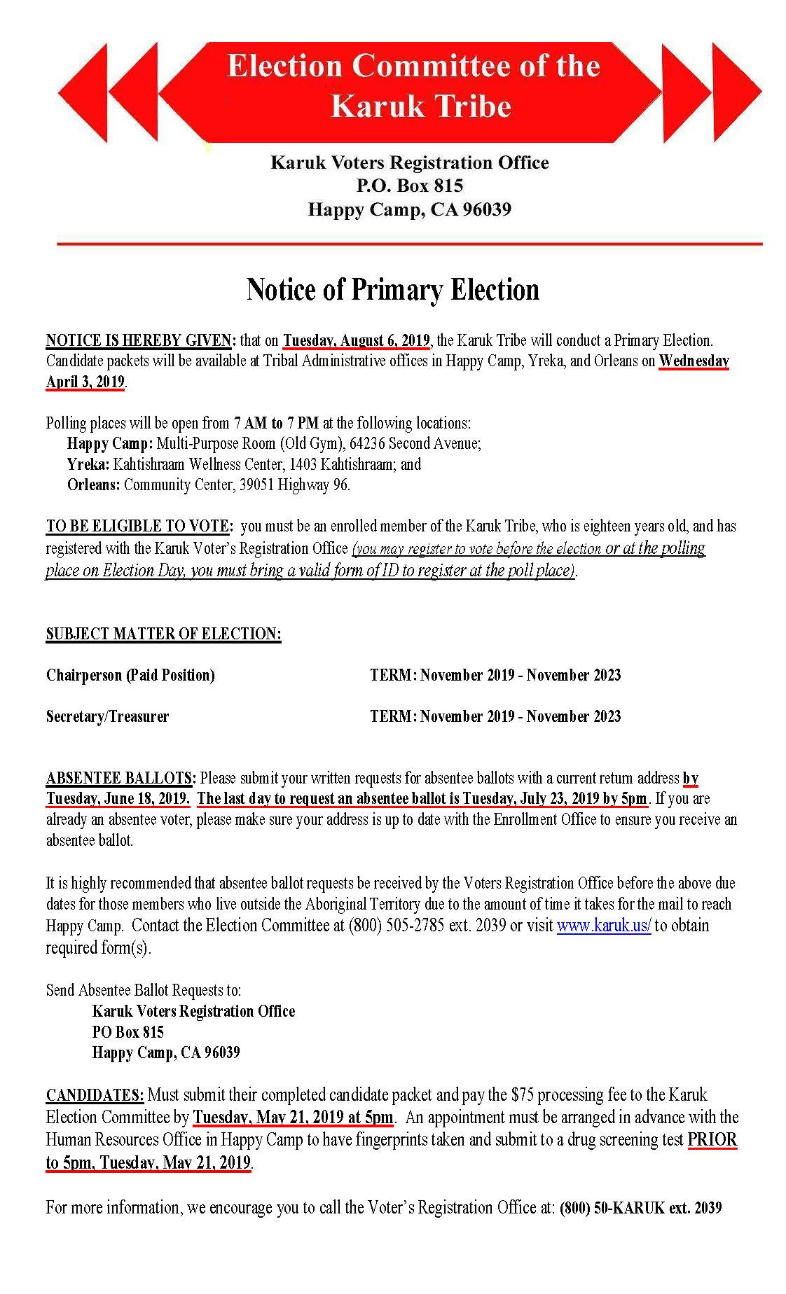2019 Notice of Primary Election