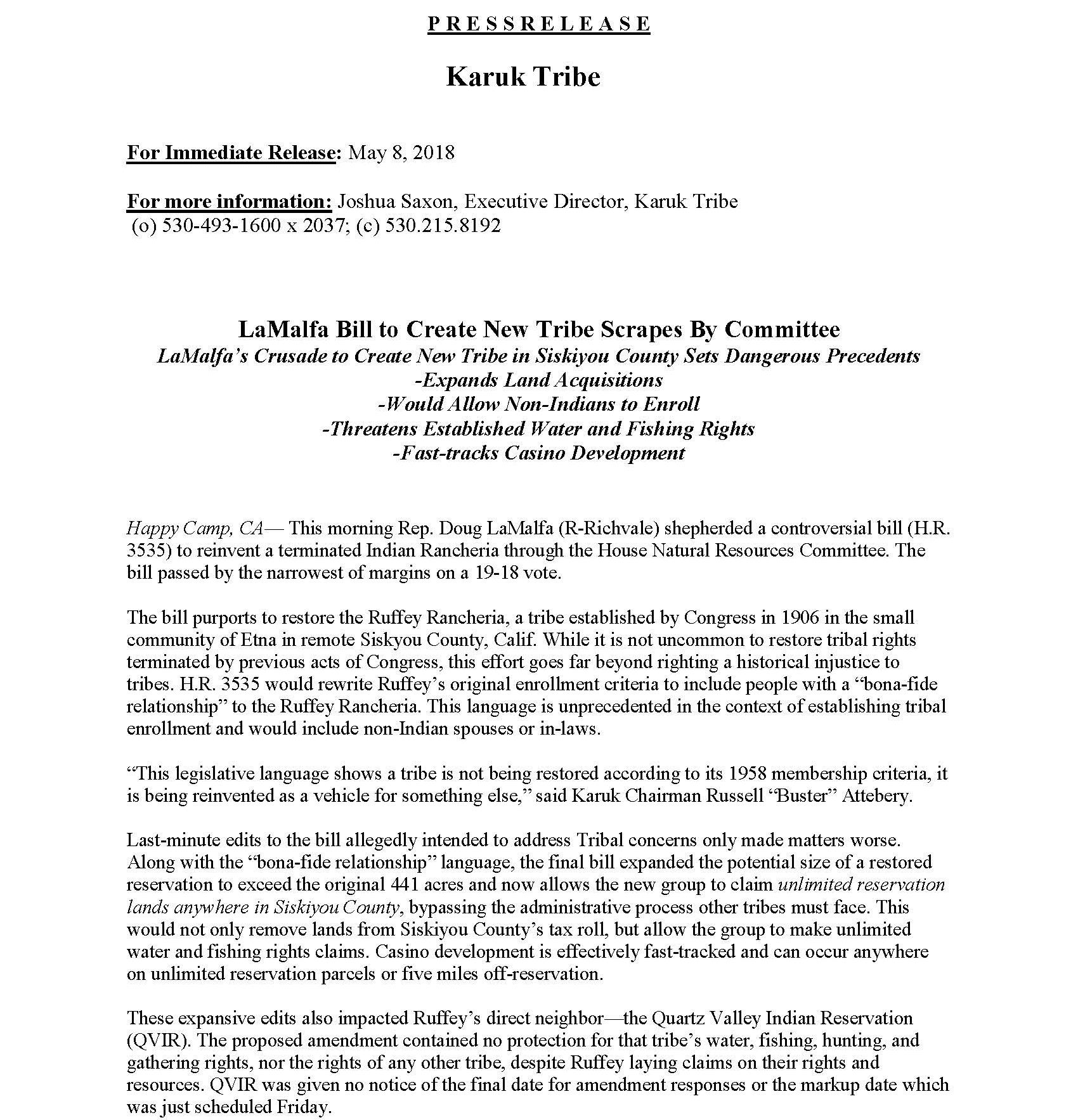 LaMalfa Final Press Release Page 1